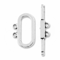 Antiqued Silver 21mm Oval 2-Strand Toggle Clasp (5PK)