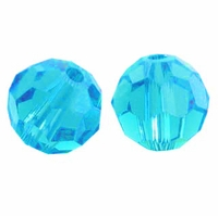 Majestic Crystal® Aquamarine 6mm Faceted Round Crystal Beads (24PK)