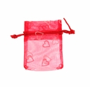 3x4 Inch Red White Heart Print Organza Gift Bag