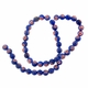 Royal Blue Glass Millefiori 8mm Round Beads 16-Inch Strand