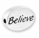 Silver Finish Pewter Message Bead BELIEVE (1pc)