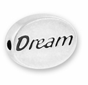 Silver Finish Pewter Message Bead DREAM (1pc)
