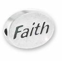 Silver Finish Pewter Message Bead FAITH (1pc)