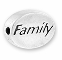 Silver Finish Pewter Message Bead FAMILY (1pc)