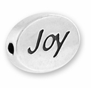 Silver Finish Pewter Message Bead JOY (1pc)