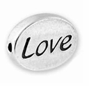 Silver Finish Pewter Message Bead LOVE (1pc)