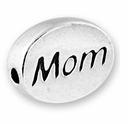 Silver Finish Pewter Message Bead MOM (1pc)