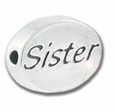 Silver Finish Pewter Message Bead SISTER (1pc)