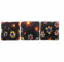 Black Puffed Square 10x10mm Millefiori Beads (1 Strand)