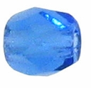 3mm Sapphire Czech Fire Polished Round Glass Beads (50PK)