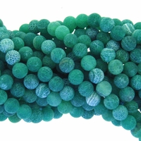 8mm Green Efflorescence Agate Round Beads 14 inch Strand