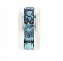 8mm Montana Blue Crystal Rhinestone Silver Plated Rondelles (4PK)