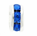 8mm Sapphire Crystal Rhinestone Silver Plated Rondelles (4PK)