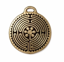 Antique Gold 26mm Labyrinth Pendant