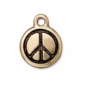 Antique Gold Small 17mm Peace Sign Charm