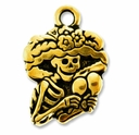 Antique Gold Catrina Charm