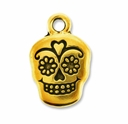Antique Gold Sugar Skull Charm
