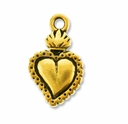 Antique Gold Sacred Heart Milagro Charm