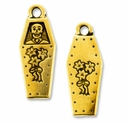 Antique Gold Coffin Charm