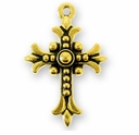 Antique Gold Fleur Cross Charm