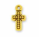 Antique Gold Beaded Cross Charm