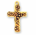 Antique Gold Floral Cross Charm