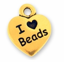 Antique Gold I Love Beads Charm