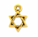 Pewter Gold Small Star Of David Charm