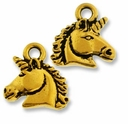 Antique Gold Unicorn Charm