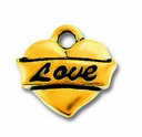 Antique Gold Love Heart Charm