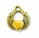 Antique Gold Winged Heart Charm