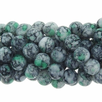 6mm Green Marble Round Glass Beads 16 Inch Strand