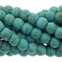 6mm Blue Green Turquoise Howlite Barrel Beads 16 Inch Strand