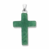 Green Aventurine 25mm Cross Gemstone Pendant