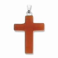 Red Aventurine 25mm Cross Gemstone Pendant