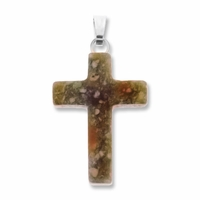 Unakite 25mm Cross Gemstone Pendant