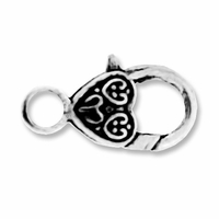 Antiqued Silver 26mm Ornate Heart Lobster Clasp (4PK)
