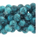 8mm Blue Turquoise Round Glass Beads 16 Inch Strand