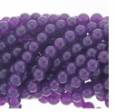 8mm Purple Jade Round Glass Beads 16 inch Strand