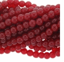 8mm Red Jade Round Glass Beads 16 inch Strand