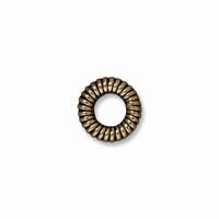 Brass Oxide Lg Coiled Ring Spacer Beads