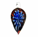 Glass Lampwork Leaf Pendant Dark Blue Burst (1pc)