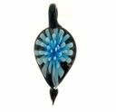 Glass Lampwork Pendant Leaf Light Blue (1PC)