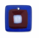 Murano Lampwork Pendant Square, Dark Blue, Red, White Dot