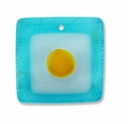 Murano Lampwork Pendant Square, Lt. Blue, White, Yellow Dot