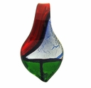 Red/Green/Silver Spoon Murano Style Glass Pendants