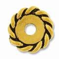 Anti. Gold 12mm Twisted Lg. Hole Spacer