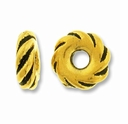 Anti. Gold 8mm Wide Twisted Lg. Hole Spacer