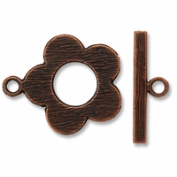 Antique Copper Plated 24mm Flower Toggle (1pc)