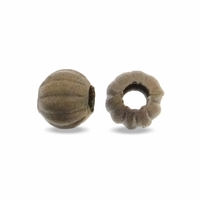 Antiqued Brass 4mm Corrugated Round Beads (50PK)